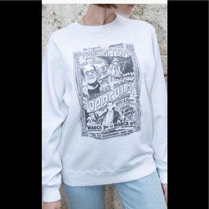 NWOT white sweater with Frankenstein logo